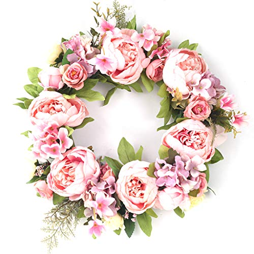 WDFVGEE 16in Peony Wreath Artificial Flower Door Wreath with Green Leaves Spring Wreath Holiday celebration wall decoration