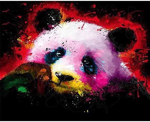 LSDEERE Malen nach Zahlen Erwachsene Kinder DIY Ölgemälde Bemalter Panda - 40x50cm Holzrahmen-Ohne_Rahmen Kreative Digitale Leinen Leinwand Neujahr Geschenk Haus Dekor