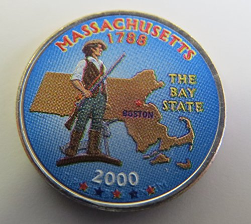 2000 Various Mint Marks Massachusetts State Colorized Quarter Choice Uncirculated