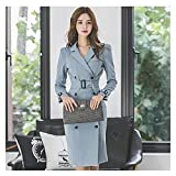 RHH Shop Work Wear Office Lady Women Dress Double Breasted Notched Temperament Party Formal Blazer Pencil Dress (Color : Blue, Size : Large)