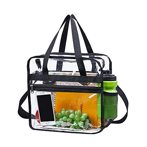 Clear Bag Stadium Approved,NCAA NFL&PGA Security Approved Clear Tote Bag with Multi-Pockets and Adjustable Shoulder Strap,Perfect for Work, School, Sports Games and Concerts-12 X12 X6