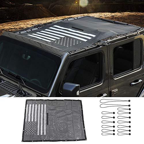 for Jeep JLU Sun Shade Mesh Sunshade Top UV Sun Protection for 2018-2020 Jeep Wrangler JL JLU 4 Door Unlimited, Black American Flag