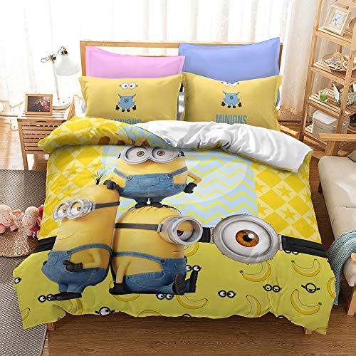 Ssllc Minions Copripiumino - set da letto per bambino con personaggio del mondo anime composto da copripiumino e federa per cuscino, 100% microfibra (a04, 200 x 200 cm)