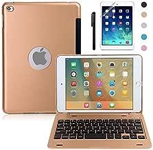 iPad Mini 4 Keyboard Case, BoriYuan Bluetooth Wireless Keyboard Folio Flip Smart Cover for Apple iPad Mini 4 2015 Release with Folding Stand and Auto Sleep/Wake Function, Gold