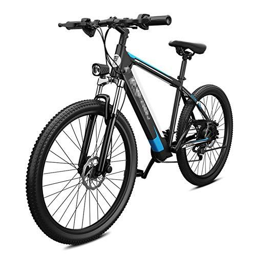 BMXzz 26' Bicicleta Eléctrica de Montaña, Bici Electricas Adulto con 400W Motor e Batería 48V 10Ah 27 Velocidades E- Bike Marco de Acero de Alto Carbono,Black Blue