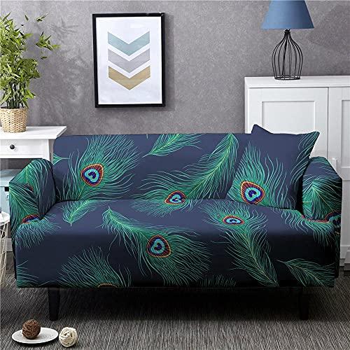 Funda Sofa 1 Plaza Étnico Azul Marino Verde Aceite Fundas para Sofa Spandex Lavables Desmontables Fundas Sofa Elasticas Ajustables Cubre Sofa Modernas Universal Espesas Funda para Sofa