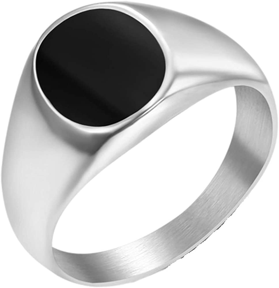 Stainless Steel Black Enamel Filled Oval Shape Signet Style Wedding Statement Promise Pinky Ring