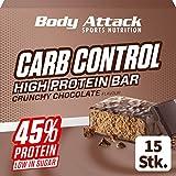 Body Attack Carb Control, Chocolate crujiente, barra proteínica de 100g sin azúcares añadidos, baja en carbohidratos y alta en proteínas, barra proteica con suero, también en la caja mezclada.