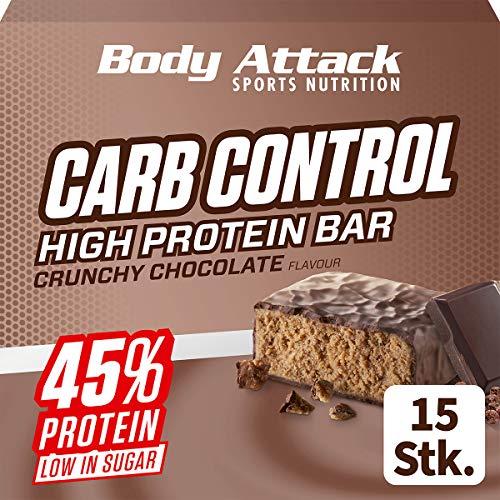 Body Attack Carb Control, Proteinriegel ohne Zuckerzusatz, Low Carb – High Protein, Eiweißriegel mit Whey, auch in der Mix-Box (Crunchy Chocolate, 15 x 100g)