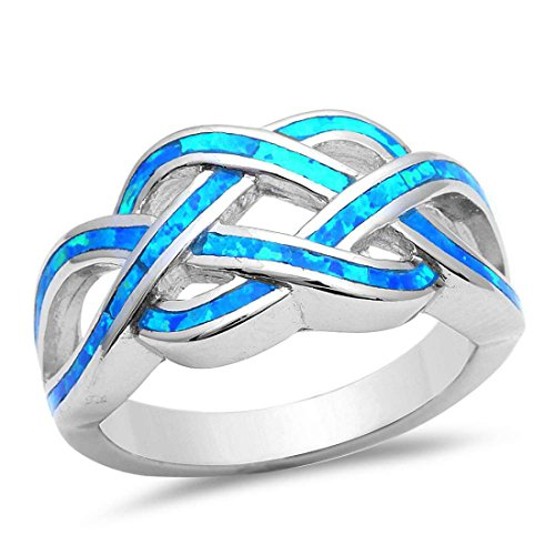 Crisscross Infinity Celtic Created Blue Opal Ring 925 Sterling Silver, Size - 5