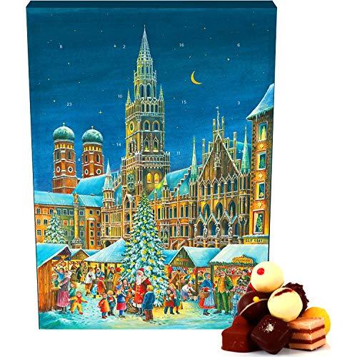 Hallingers 24 Pralinen-Adventskalender, mit/ohne Alkohol (300g) - München (Advents-Karton) - zu Weihnachten Adventskalender