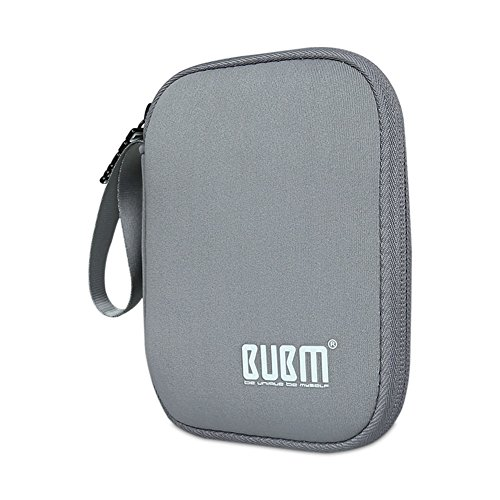 External Hard Drive Case, BUBM Soft Carrying Travel Case for 2.5-Inch Portable External Hard Drive/Portable Hard Drive Protection Box Case/Electronics Travel Organizer/Cable Bag-Grey