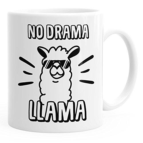 MoonWorks Kaffee-Tasse Lama No Drama Llama Spruch Sprüche Quote weiß Unisize