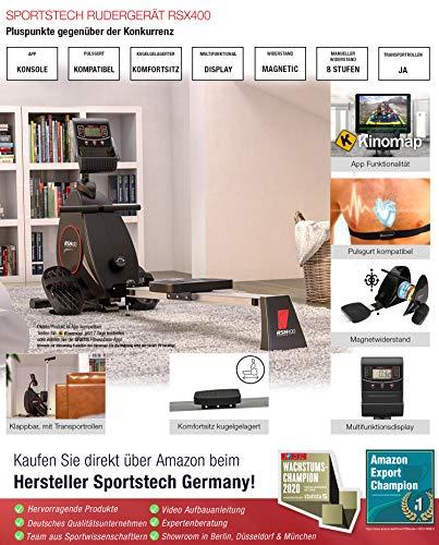 Sportstech RSX400 Rudergerät – Deutsche Qualitätsmarke -Video Events & Multiplayer APP, Pulsgurt inkl. –Rudermaschine für Ihr Zuhause, klappbar mit 8fach Magnetwiderstand und kugelgelagertem Sitz - 4