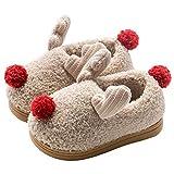 Zapatillas Casa Bebé Niñas de Navidad Divertidas Pantuflas Niño Beige Cerradas Slippers Invierno Peluche Reno