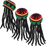 SATINIOR 3 Pack Rasta Hat with Black Dreadlocks Wig Rasta Wig Cap for Costume Accessory