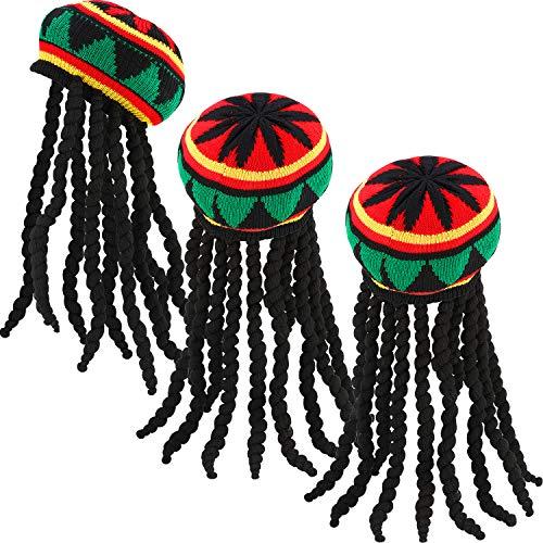 SATINIOR 3 Packungen Rasta Hut mit Schwarzer Dreadlocks Perücke Rasta Perückenkappe für Kostüm Zubehör