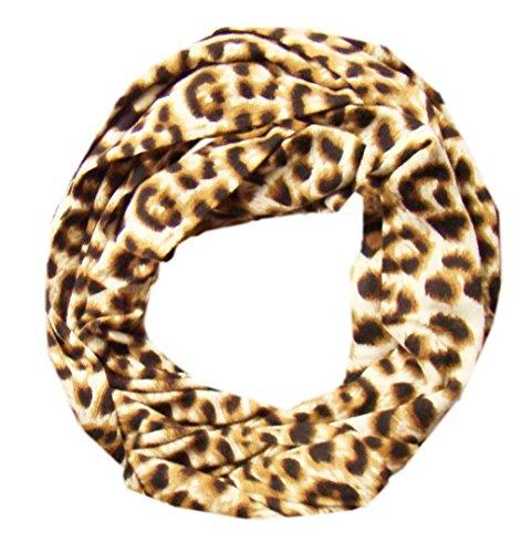 DIVA-MODE Damen-Schal,Rundschal Loopschal Schlauchschal Leoparden Print Verschiedenen Farben (Hellbraun)