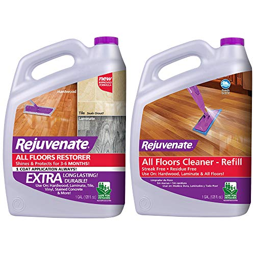 Rejuvenate All Floors Restorer and Polish Fills in Scratches Protects Restores Shine & High Performance All-Floors and Hardwood No Bucket Needed Floor Cleaner Powerful PH Balanced Shine