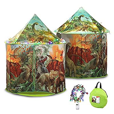 Amazon - 35% Off on Large Dinosaur Play Tent with Colorful Light, Foldable Storage Pop Up Tent