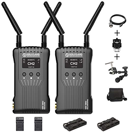 Hollyland Mars 400S Wireless Video Transmission System,SDI HDMI Image 1080P 5G Wireless HD 400ft Transmitter Receiver Support Android & iOS 3 Scene Modes Cold Shoes and Battery Kit