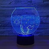 Lámpara de ilusión 3D Luz de noche LED Forma de acuario Lámpara de mesa de humor de 7 colores Sala de estar en casa Mesa de comedor Atmósfera Decoración Vacaciones