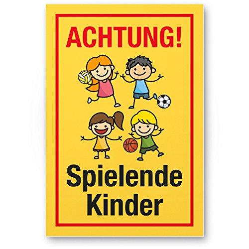 Achtung Spielende Kinder Kunststoff Schild (gelb-rot, 20 x 30cm), Hinweisschild, Warnzeichen, Warnschild langsam fahren, Warnung, Hinweis Spielstraße/Spielplatz - Vorsicht spielende Kinder