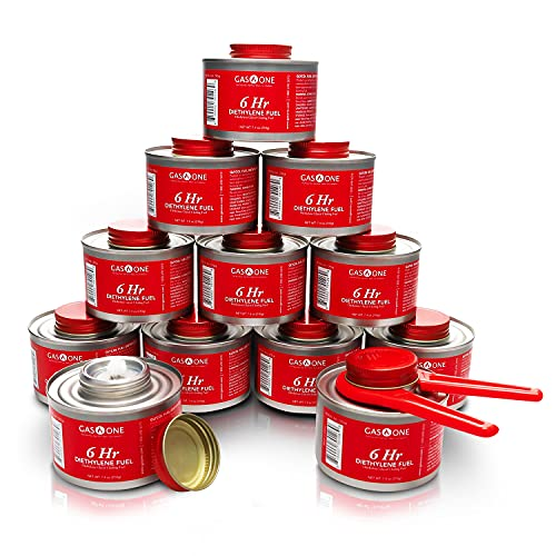 Gas One 12 Pack-6 Hour Cooking Fuel Wick Liquid Safe Fuel & Lid Opener for Chafing Dish, 12 pc