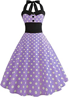 GHrcvdhw Ladies Vintage Sleeveless Halter Sexy Polka Dot Print Button A-Line Dress Cocktail Party Dress