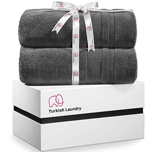 Turkish Laundry Luxury Large Bath Towels Soft amp Absorbent 100% Organic Turkish Combed Cotton 850 GSM Gray