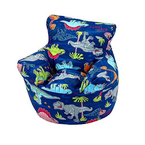 Childrens Bean Bag Chair 100% Cotton 7 Designs Childrens Bean Bag Chair Extra Small (50x50x50cm) For 0-3 Years Dinosaur