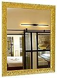 GaviaStore - Julie Gold 90x70 cm - Espejo de Pared Moderno (18 tamaños y Colores) Grande XXL hogar decoración Salon Modern Dormitorio baño Entrada
