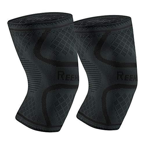 REEHUT Rodilleras Deportivas Flexible Transpirable Profesional para Aliviar el Dolor de Artritis y la Expansión de los Meniscos para Baloncesto Voleibol Balonmano Correr Fútbol