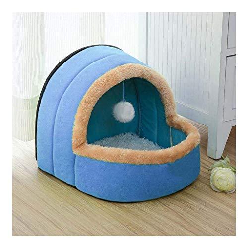 JIAMING Jerarquía del Animal doméstico, Invierno Yurt de la litera en Forma de Gato de la Perrera del Animal doméstico Cuatro Estaciones Disponible Nido Carpa (Color: Azul, tamaño: M)