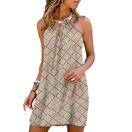 GuliriFe Vestido halter para mujer, de verano, casual, sin mangas, para playa, fiesta, bohemio, vestido corto y suelto Y2k, mini vestidos