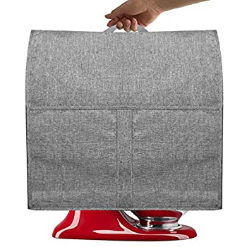 Dust Cover for 6-8 Quart Mixers Cloth Cover with Pockets for Mixers and Extra Accessories,Easing Clear  Fits for 6-8 Quart Gray