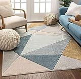 Well Woven Tessa Blue Modern Geometric Shatter Triangles Pattern Area Rug 8x10 (7'10' x 10'6')