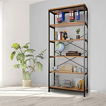 5 Tier Industrial Bookshelf Vintage Standing Storage Shelf Display Shelving Units Tall Bookcase Industrial Metal Book Shelves for Living Room Bedroom and Home Office