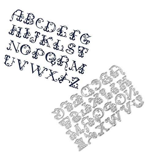 Newest Metal Cutting Dies, XXYsm Large Alphabet Embossing Stencil Template for DIY Scrapbook Album Paper Card Craft Decoration Mother's Day Easter April Fool's Day 2019 Surprise Best Gift 160 * 99MM