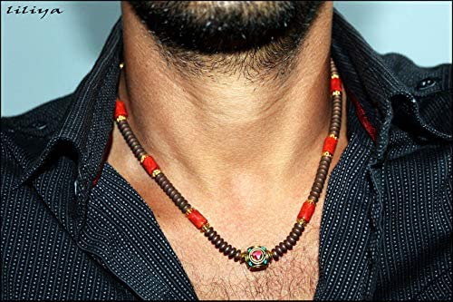 mens necklace surfer necklace with coral and hematite gems neckless for men men jewelry product image