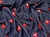 Minerva Crafts Denim-Stoff, bestickt, Rot auf Blau,