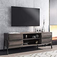 Mid Century Modern TV Stand for 65 inch Flat Screen Wood TV Console with Storage Shelf for Living Room, Gray Entertainment Center, 59 inch