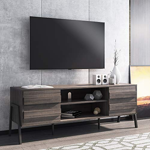WAMPAT Mid-Century Modern TV Stand for TVs up to 65'' Flat Screen, Wood TV Console Storage Cabinet, Retro Media Entertainment Center for Living Room
