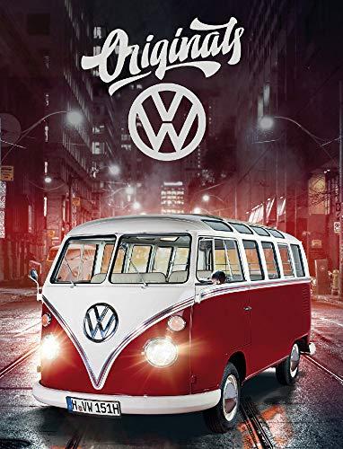 Große VW Volkswagen Fleece-Decke Bulli T1 Rot 130 cm x 170 cm Camper-Van Bus Auto Car Decke Kuscheldecke Tagesdecke Schmusedecke Flauschdecke Wohndecke Tagesdecke passend zur Bettwäsche 087-B