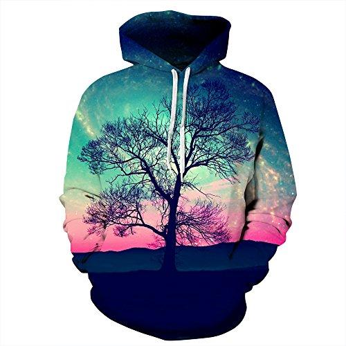 HNKPWY Hooded Sweatshirt 3D Schilderij Hoodies Kleurrijke Boom Hoody Mens Crewneck Uit Wit Hoodie