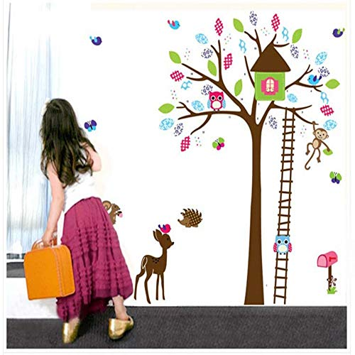 Muurstickers Kinderkamer Stickers Cartoon Achtergrond Muurdecoratie Stickers Cartoon Ladder Boom Afneembaar PVC