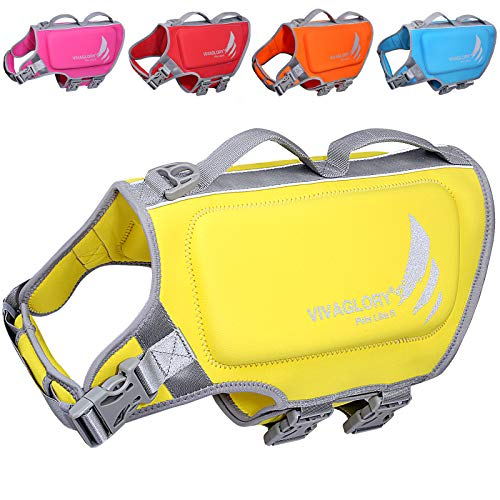 VIVAGLORY Dog Life Vests for Swimming, Skin-Friendly Neoprene Dog Life Jacket with Superior Buoyancy and Rescue Handle, Lemon Yellow, Medium