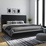 DHP Janford Upholstered Bed with Chic Design | King | Black Faux Leather
