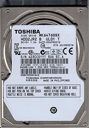 Toshiba MK6476GSX HDD2J92 B UL01 T PHILIPPINES 640GB Laptop Hard Drive