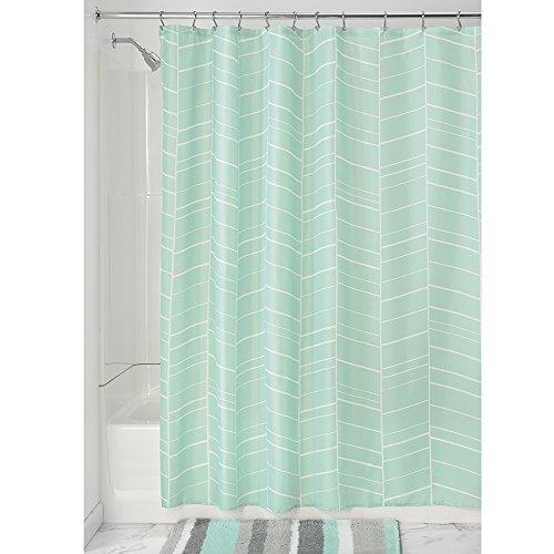 iDesign Kylie Duschvorhang | Badewannenvorhang mit 12 Ösen | waschbarer Duschvorhang 183,0 cm x 183,0 cm | Polyester mint
